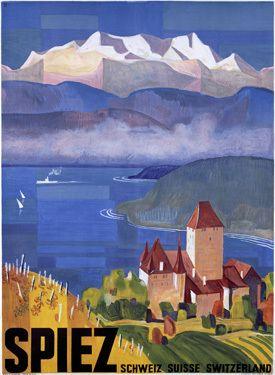 a vintage tourism advertising for Spiez/Switzerland