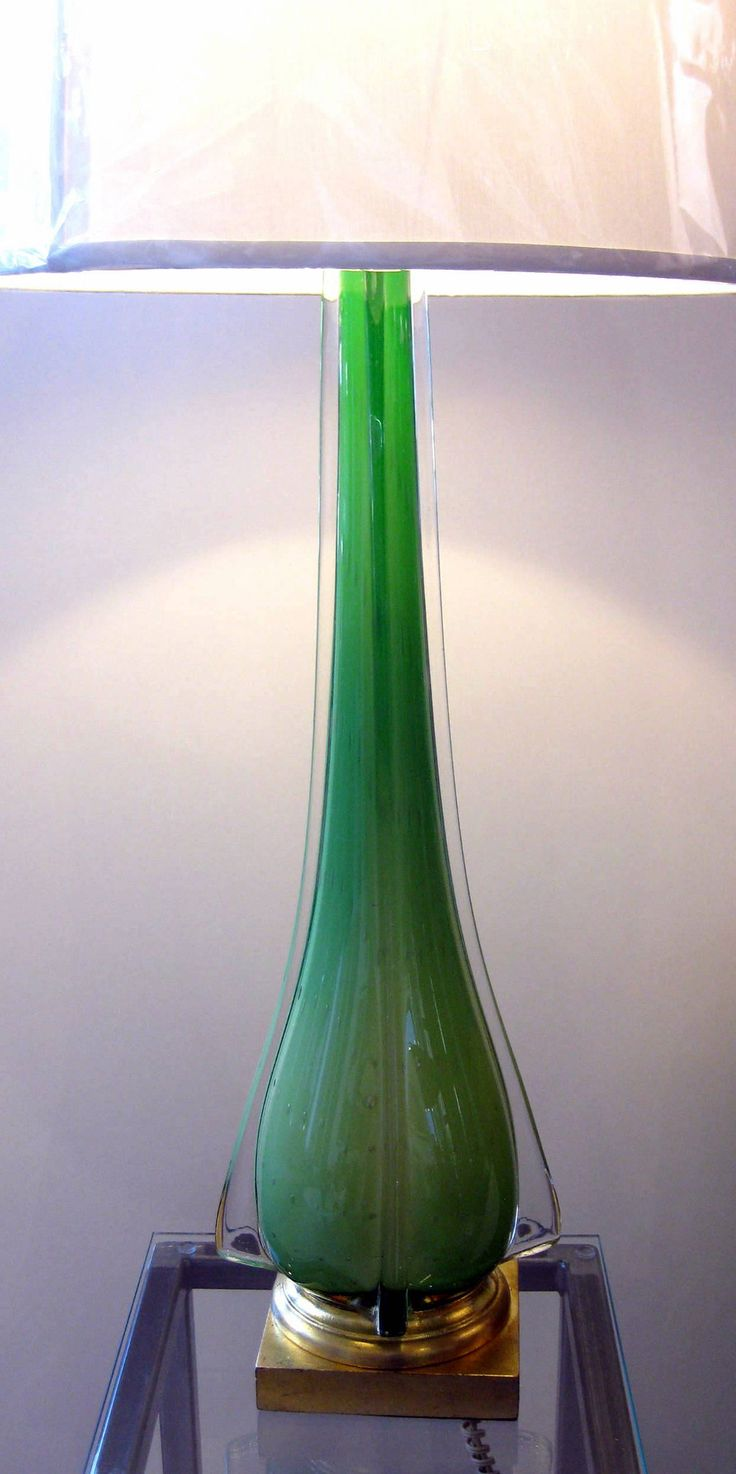 """Check out these magnificent beauties! Rich chartreuse green, elegant design, pristine condition! Glass lamps, not including shades, 30"""" tall with the base of 7"""" square. Priced for pair."""