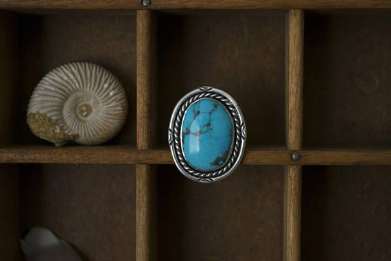 Turquoise Ring Mens Real Turquoise Ring Silver Bohemian, mens jewelry, bohemian mens jewelry, silver mens jewelry, mens turquoise jewelry, vintage mens jewelry