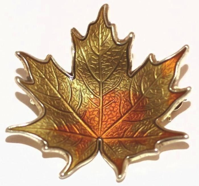 Vintage Sterling Silver Guilloche Enamel Maple Leaf Pin by Hroar Prydz Norway #HroarPrydz