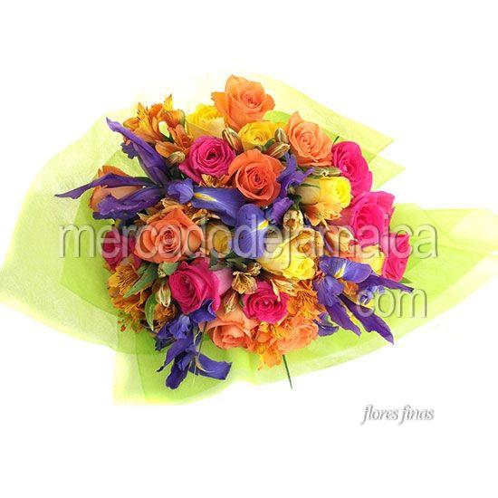 Florerias Polanco Ramo Rosas Rosa e Iris Azalea Bouquet !| Envia Flores