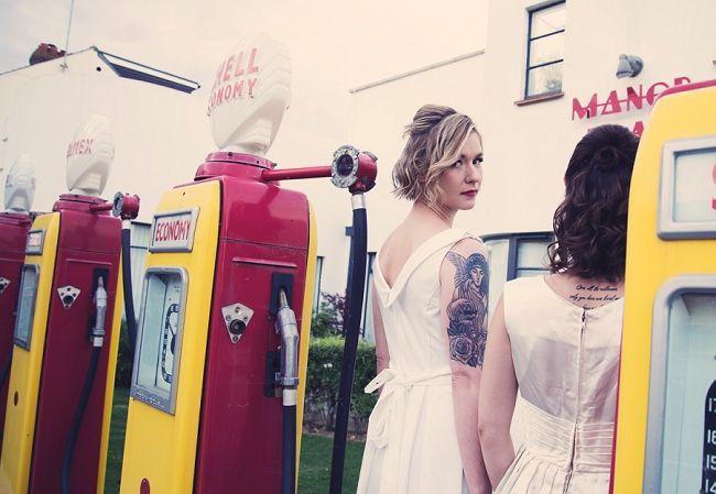 50s Same Sex Wedding Garage Retro