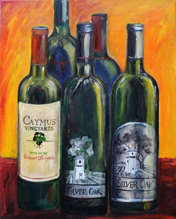 Wine bottle painting, Original painting of Napa valley wines, Silver Oak, Caymus wine bottles art, Gift for dad, Gift for brother #etsy #Danceart