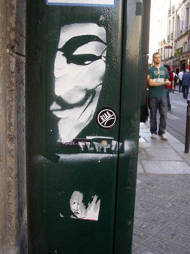 V for Vendetta street art in Paris   An interesting movie making some very valid points about society.