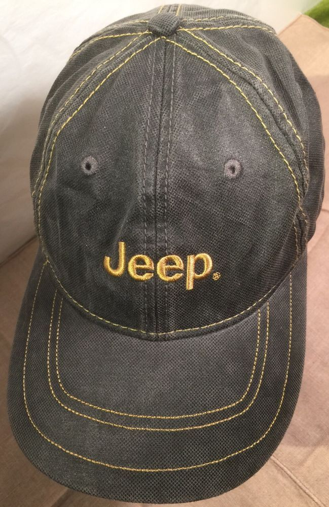 jeep denim stitching style baseball cap hat dark gunmetal gray adjustable strap uk wrangler caps stone washed
