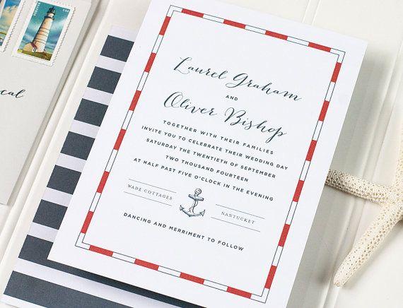 Nautical Letterpress Wedding Invitation - Anchor Wedding Invitation - Stripped Letterpress, Foil Stamp, Flat Printing - Nantucket - DEPOSIT