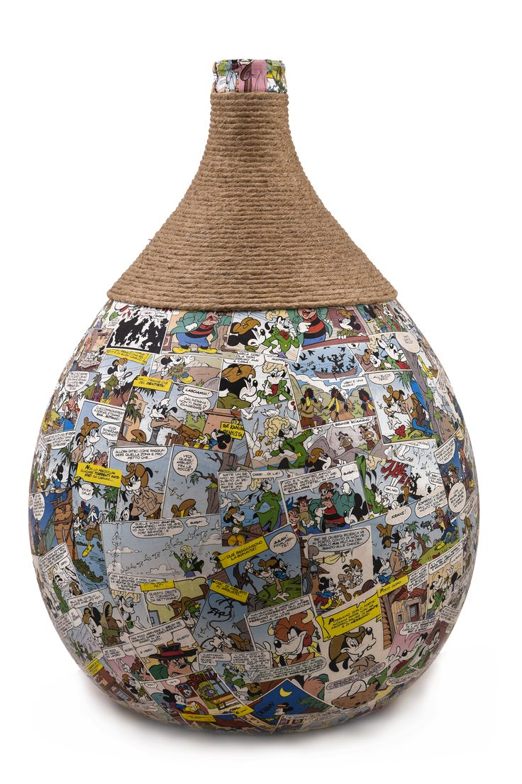 Damifù Damigiana con fumetti e canapa. vari usi : vaso da terra, vaso da tavolo, vaso per esterno, lampada da terra con luce diffusa, lampada da tavolo con luce diffusa ecc