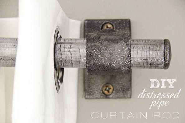 how to add drama to your boring windows, diy, home decor, how to, reupholster, window treatments, Distressed metal curtain rod gives a unique look