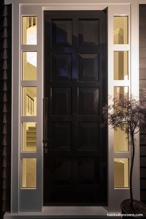 This enormous, custom-made panel door is painted in Resene Foundry. http://www.habitatbyresene.co.nz/designer-captures-cape-cod-style