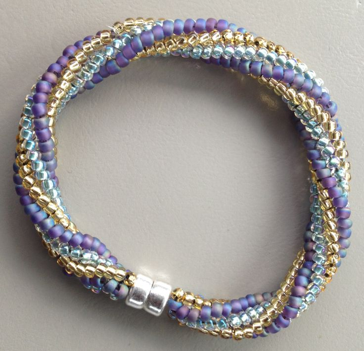 twisted herringbone bracelet teal and purple ashlyn