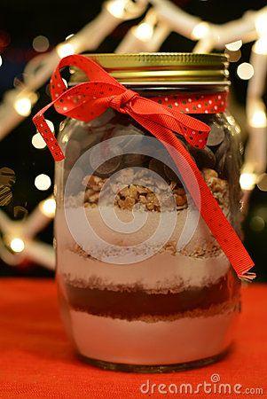 Cereal jar on a Christmas backround.