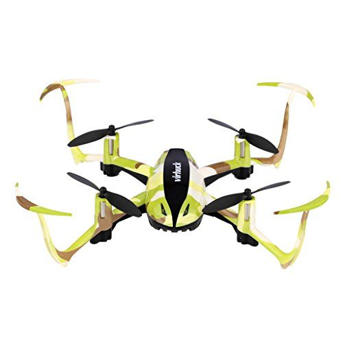 Virhuck T915 RC Drone 2.4 GHz 4 CH 6 AXIS GYRO System LED Lights Headless/Inverted Flight/One Key Return Mode Quadcopter Camouflage Green
