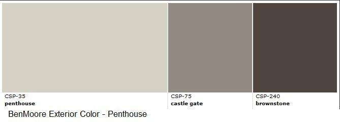 BenMoore Exterior Paint  Gray Family, Dark colors Body - Penthouse Door - Castle Gate Trim - Brownstone