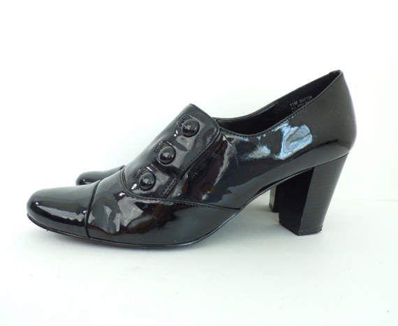 Vintage nero lucido con tacco mocassini dimensione 11M, brevetto ecopelle, tacchi, mocassini neri, scarpe da lavoro, lucida scarpe, mocassini con tacco, Womens 11