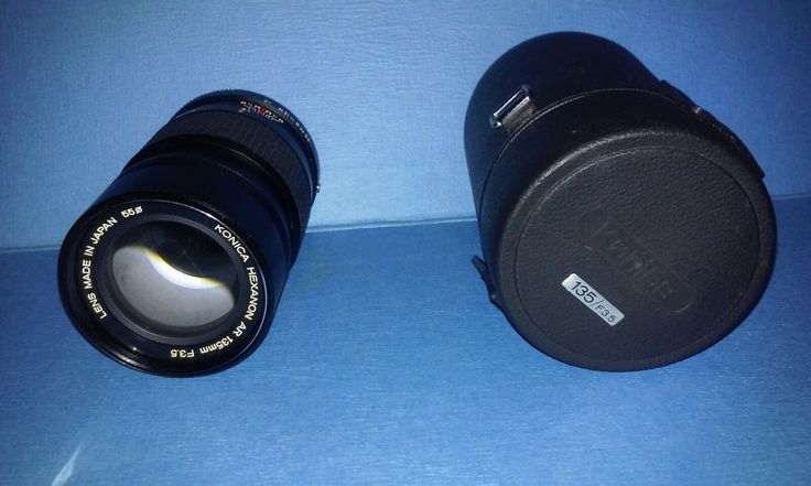 Konica Hexanon 135mm  F3.5 Telephoto Manual Focus Camera Lens with Original Case #KonicaHexanonCameraLens #CameraLens