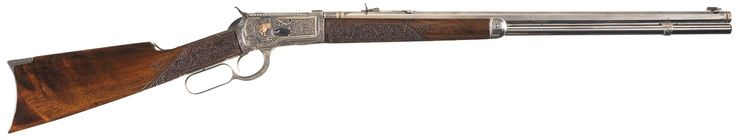 Attractive Deluxe Gold Inlaid and Engraved Antique Model 1892 Winchester Rifle with Relief Carved Wood