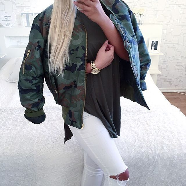 @isabellefribeerg wears our DARA camo bomber £23. SHOP HERE: http://www.wearall.com/dara-camo-bomber-jacket