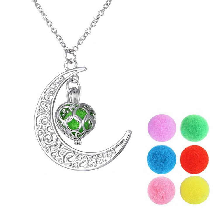 Essential Oil Fragrance Diffuser Moon & Heart Locket Pendant Necklace
