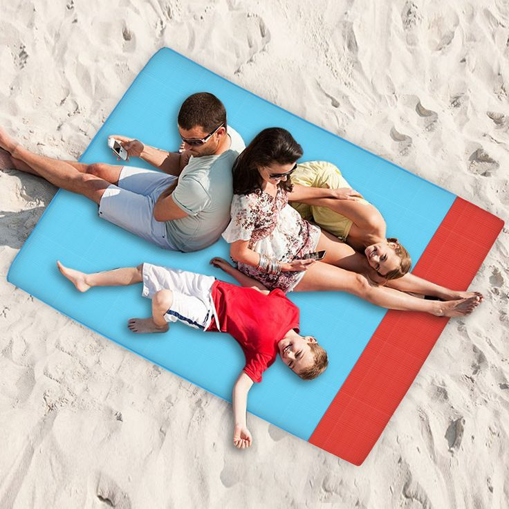"""78"""" x 55"""" Red Blue Large Picnic Mat/Beach Towel, Guaiboshi Waterproof Outdoor Blanket Quick Dry Compact Lightweight Mat for Camping, Travel, Hiking with Attached Collective Bag. [Collective bag & Large Unfolded Size]-The picnic mat size is: 78.7*55.1 inch(200*140cm).But it can be folded to a very easy grap/carry size with its collective bag. Great for you to take out to travelling and camping with your family or friend. [Waterproof & Sandproof]-The polyester material keeps it durable..."""