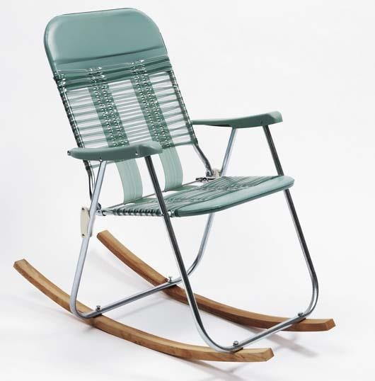 SAM DURANT Rocking Chair Found vinyl and metal folding chair and wood 36 x 2