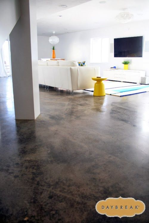 love the concrete floors in the basement how to get a modern look in your home colorful fun. Black Bedroom Furniture Sets. Home Design Ideas