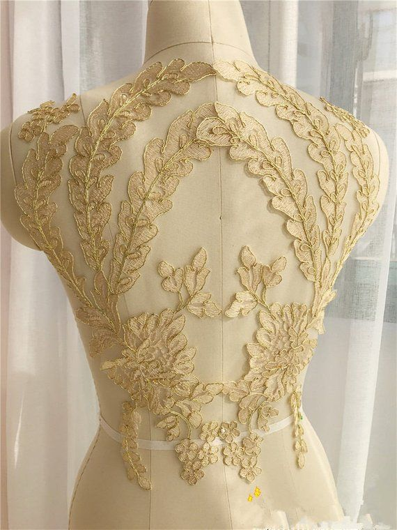 1 pair Gold Retro Applique Collar Altered Clothing Sewing Bride Headwear