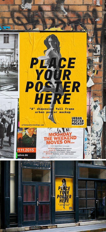 2 Urban Poster Mockups Psfiles Poster Mockup Poster Mockup Psd Psd Poster Template