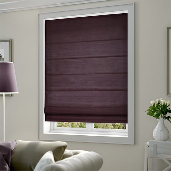 Dupioni Faux Silk Purple Roman Blind