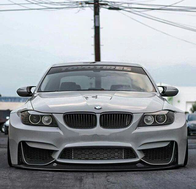 BMW E90 3 Series White Widebody Slammed
