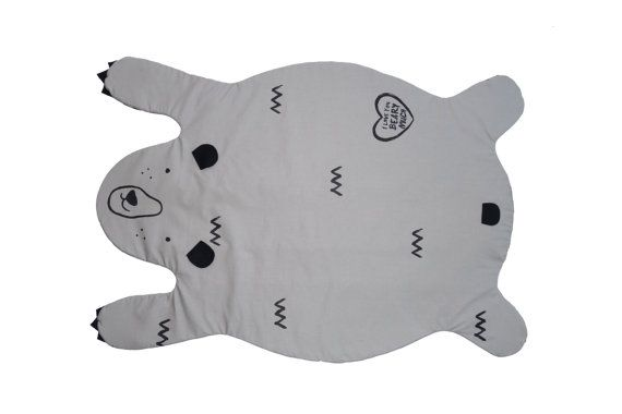 Bear blanket  white or grey kids play mat rug by XanderLouKids