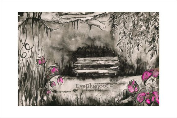 Goth Art Print Creepy Garden Watercolor Painting by EveBluefoot
