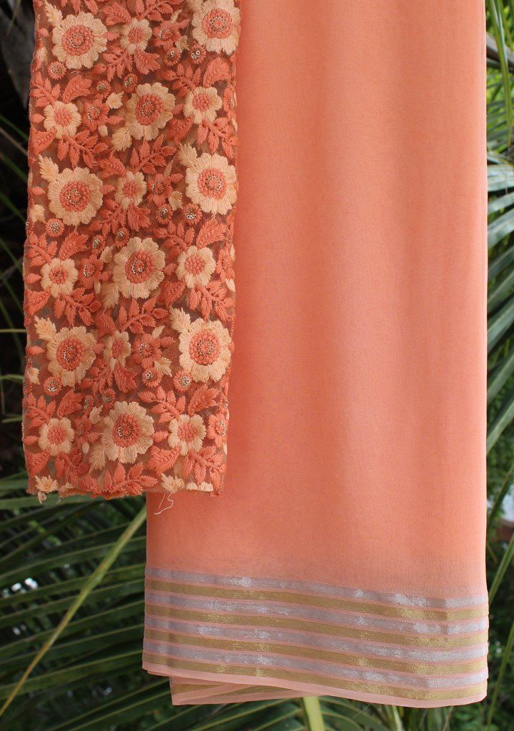 Peach saree with embroidered blouse piece – Rang Mohe