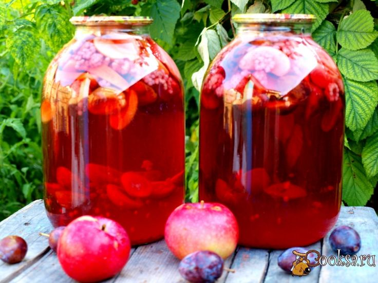 Яблоки- 250г, Сливы- 250г, Малина- 100г, Сахар- 240г, Лимонная кислота (щепотка)
