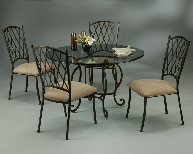 Pastel Atrium 48 Round 1 Bevel Gl Dining Table With 4 Side Chairs In