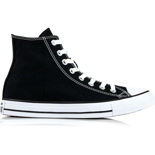 Converse Chuck Taylor All Star Hi Top Trainers ($46) ❤ liked on Polyvore featuring shoes, sneakers, converse, black, black hi top sneakers, black trainers, black hi tops, high top trainers and converse trainers