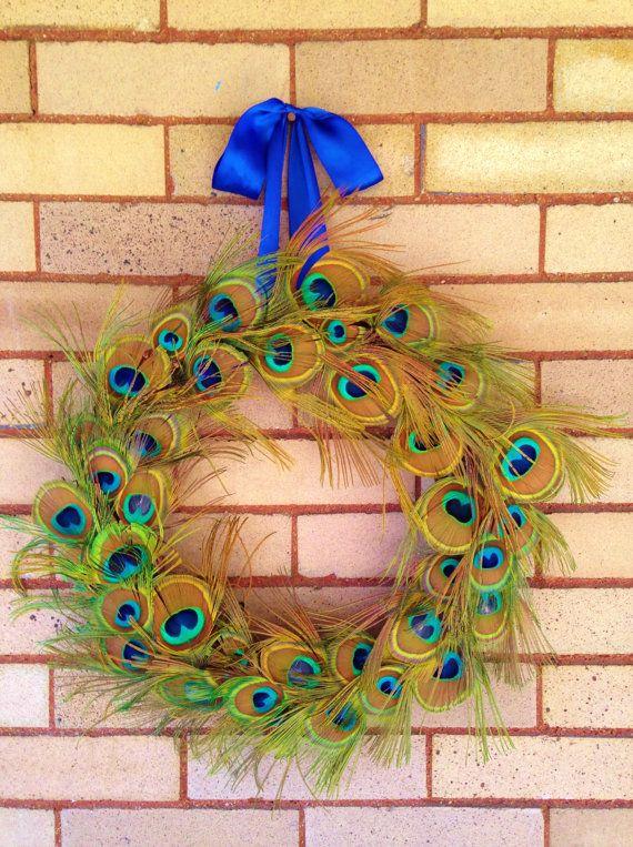 Peacock Feather Wreath, Rustic Wreath, Peacock Eye Wreath, Blue/Green Peacock Feathers, Wedding Wreath