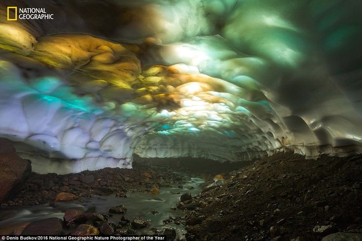 The snow cave on the slopes of the volcano Mutnovsky in Russia. Due to of global warming, ...