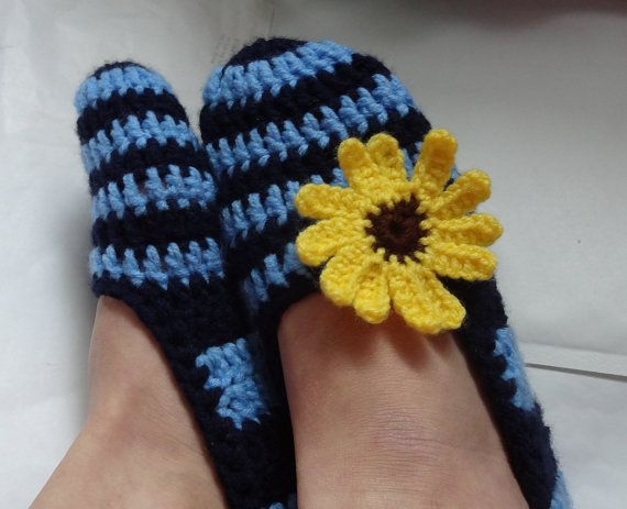 Crochet Slippers for Women navy blue stripes yellow by Ifonka, $18.00