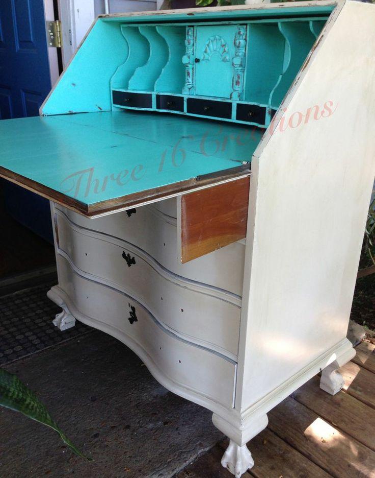 Secretary S Drop Front Desk Hand Painted In Antique