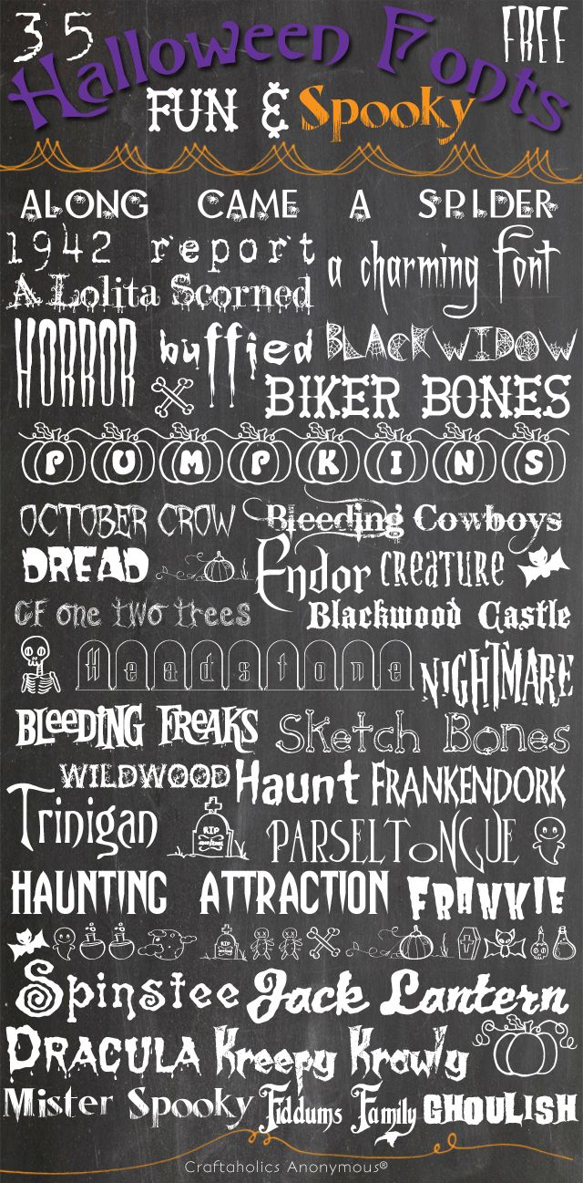 Free Halloween Fonts Ok, let's talk Halloween Fonts. How about FREE Halloween fonts? Doesn't that just make you happy? Because it kinda makes me giddy! I LOVE Halloween fonts! They are so fun to play with and they are so many different styles