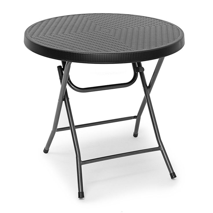 Relaxdays BASTIAN Round Patio Table Folding Table 74 x 80 x 80 cm, Folding Table for Backyard, Balcony or Porch with Metal Frame, Rattan Look Side Table or Camping Table, Black -- Continue with the details at the image link. #GardenFurnitureandAccessories