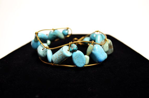 Turquoise Beaded Brass Cuff  Spring Turquoise by FernsAreGreen