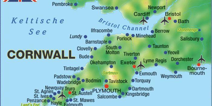 Karte Von Cornwall Region In Grossbritannien Mit Stadten Orten