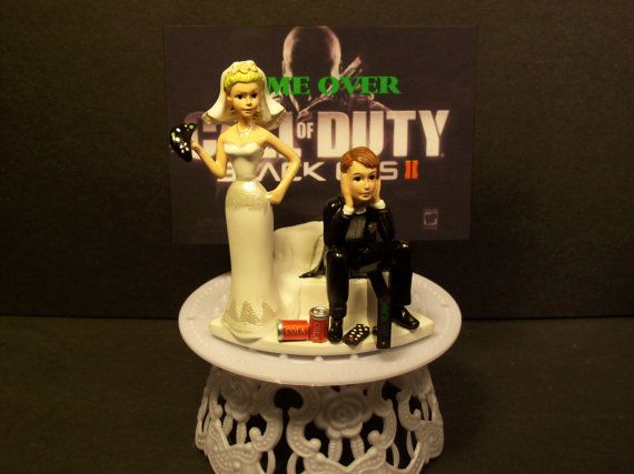 Video Game Call Of Duty Black Ops 2 Got The Controller Bride And Groom Funny Wedding Cake Topper