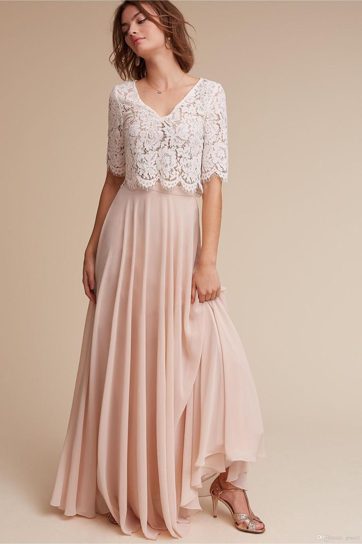 Lace & Chiffon Bridesmaid Dresses 2017 Bhldn Under 100 with Half Sleeves & V Neck Ivory Lace Blush Chiffon Long Junior Formal Dress Cheap Bridesmaid Dresses Robe Demoiselle D'honneur 2 Pieces Bridesmaid Dresses Online with $91.43/Piece on Grace2's Store | DHgate.com