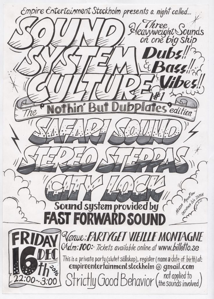 "Just Inked version of Hand drawn reggae poster by Massa AquaFlow. You can check colored version here https://jp.pinterest.com/pin/149744756340774410/.  Empire Entertainment Stockholm presents SOUND SYSTEM CULTURE #1 The ""nothin' but dub Plate"" edition sound: SAFARI SOUND / STEREO STEPPAS / CITY LOCK Sound system provided by FAST FORWARD SOUND for more info, check http://www.aquaflowcreation.net"