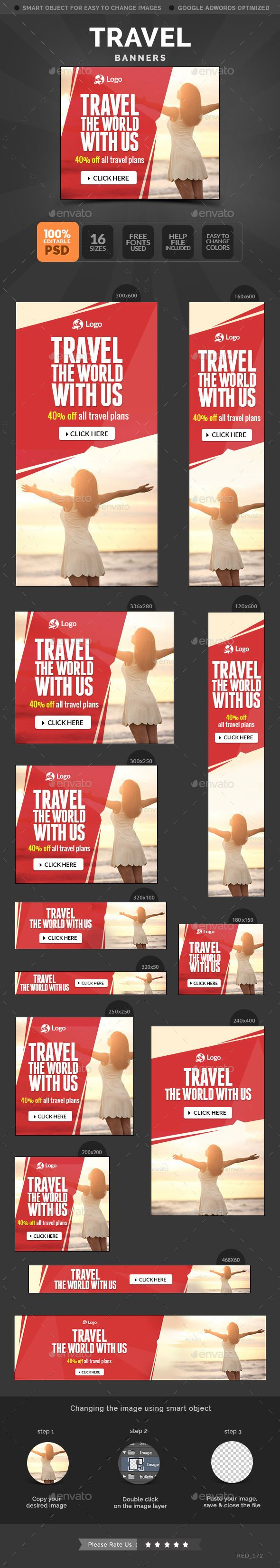 Travel Banners Template #design Download: http://graphicriver.net/item/travel-banners/11405516?ref=ksioks