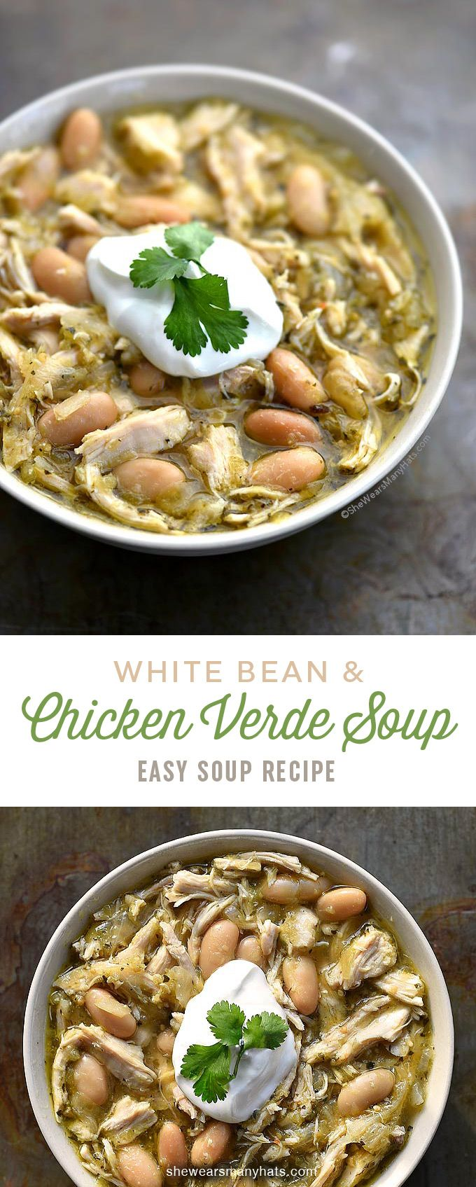 White Bean Chicken Verde Soup Recipe This tasty soup recipe is perfect for a serving a crowd and so easy to make. | shewearsmanyhats.com