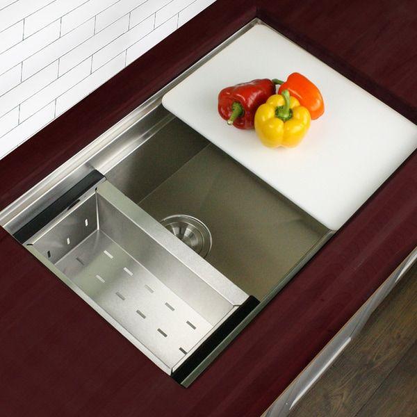 highpoint 30 zero radius undermount stainless steel kitchen sink w colander cutting - Kohler Waschbecken Schneidebrett