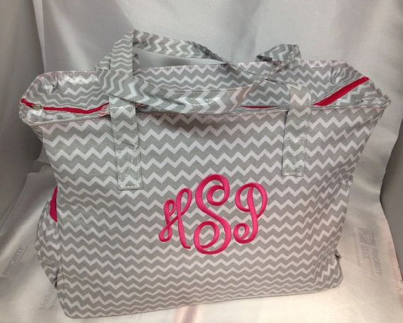 Grey chevron diaper bag laminate monogram baby name personalized girl gift on Etsy, $49.00